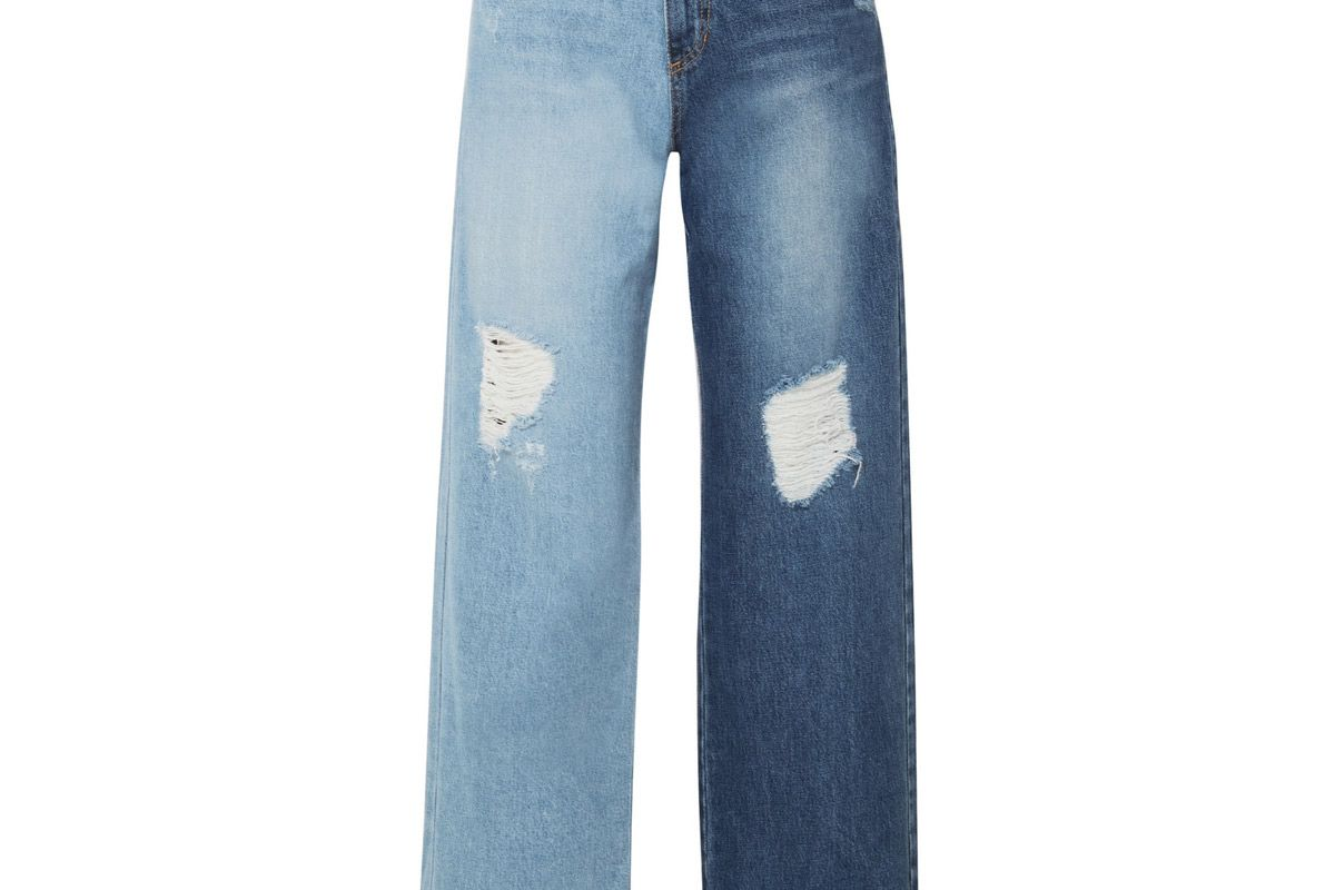 sjyp two tone distressed high rise wide leg pants