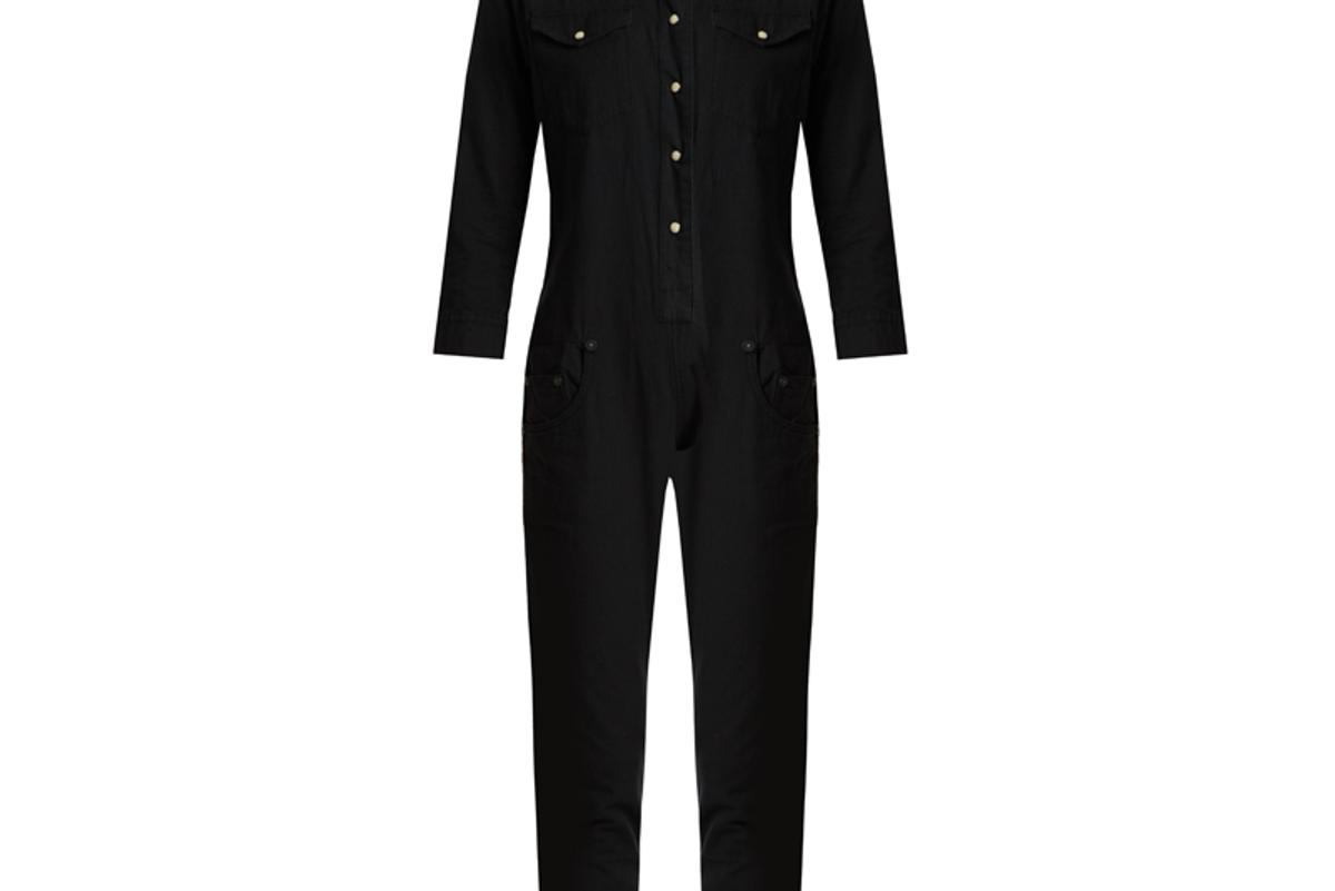 Cowboy Point-Collar Slim-Leg Cotton Jumpsuit