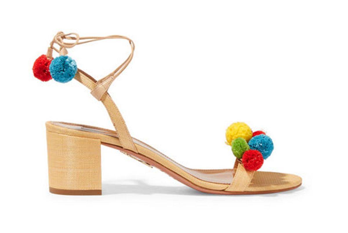 Pompom-embellished raffia sandals