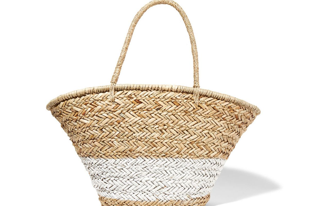 Painted woven straw tote