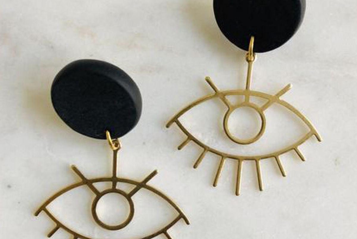 br design co clay and brass eye earrings