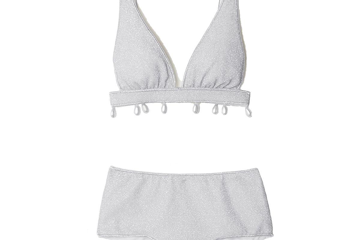 oseree lumiere faux pearl embellished stretch lurex triangle bikini
