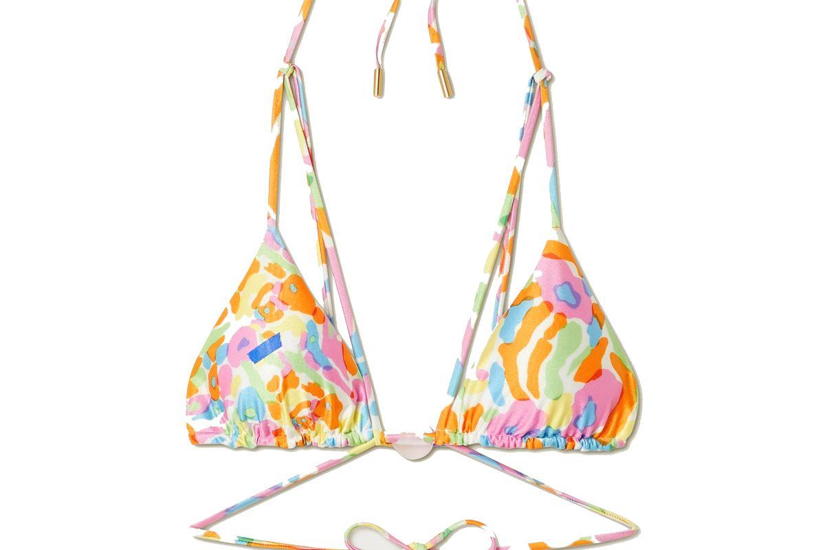 cult gaia sloane embellished printed triangle bikini top
