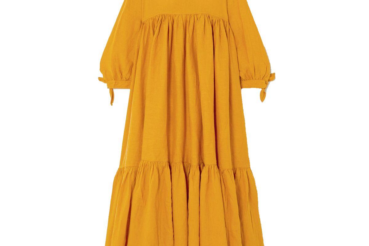 lf markey kendrick tiered linen midi dress