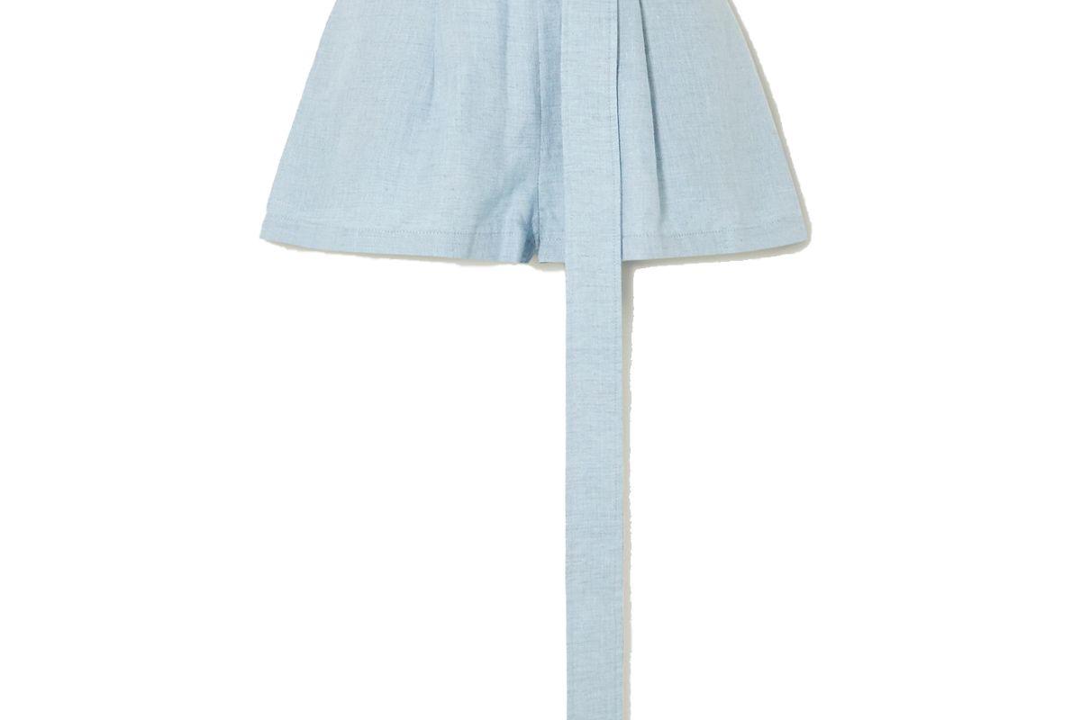 bondi born belted linen shorts