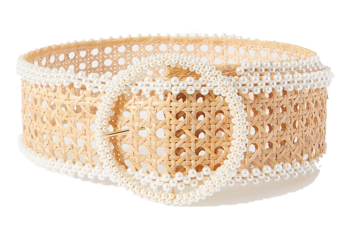 rosantica mamba fuax pearl embellished wicker waist belt