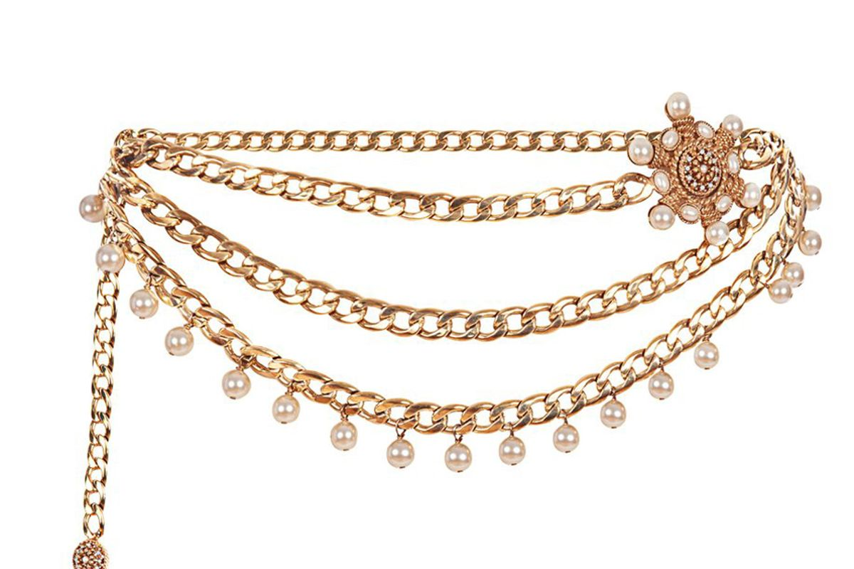 markarian x ciner valeria gold plated chain belt with blue crystals