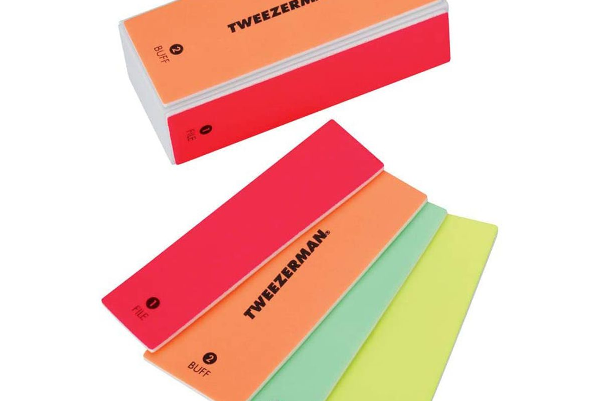 tweezerman neon hot 4 in 1 file smooth and shine block