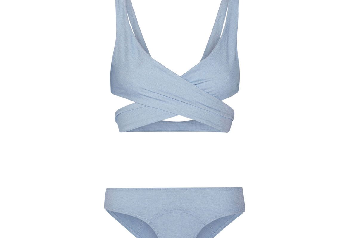 Marie-Louise stretch-denim wrap bikini