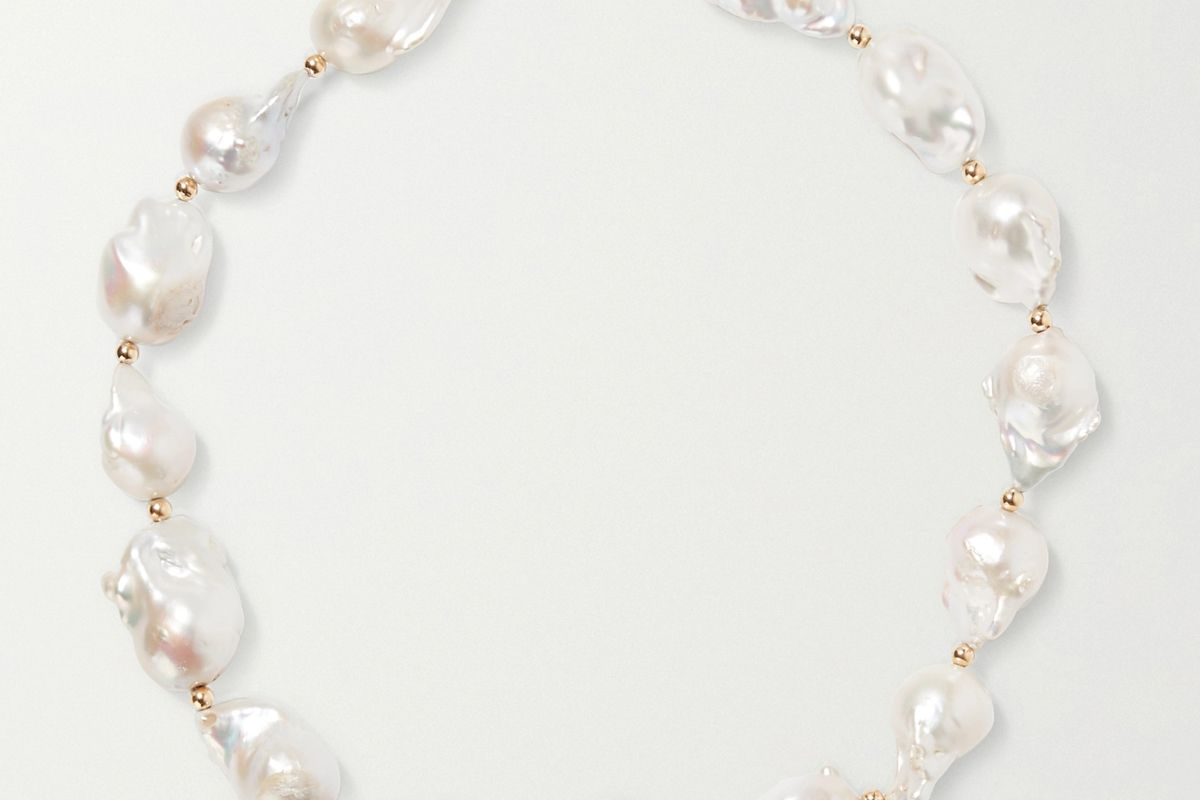 eliou gold tone bead and pearl necklace