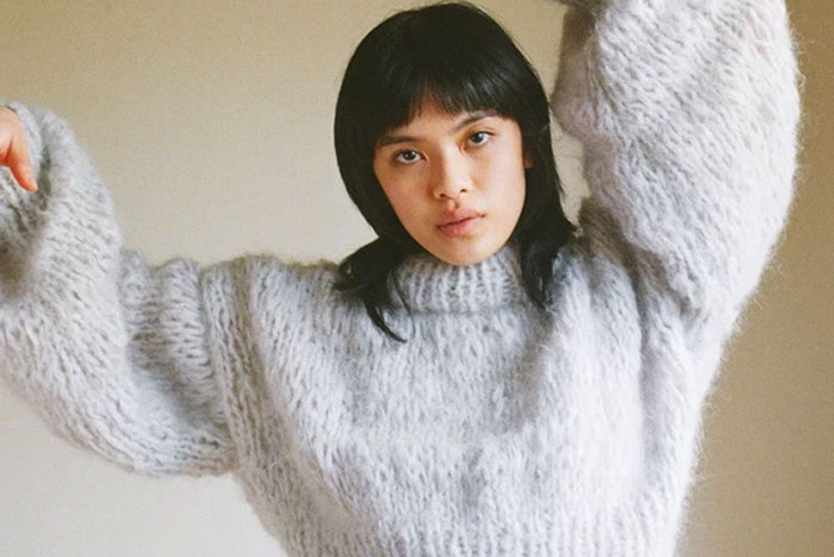 frisson knits cropped classic sweater
