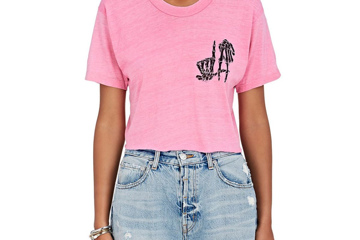 adaptation la bones cotton blend crop t-shirt