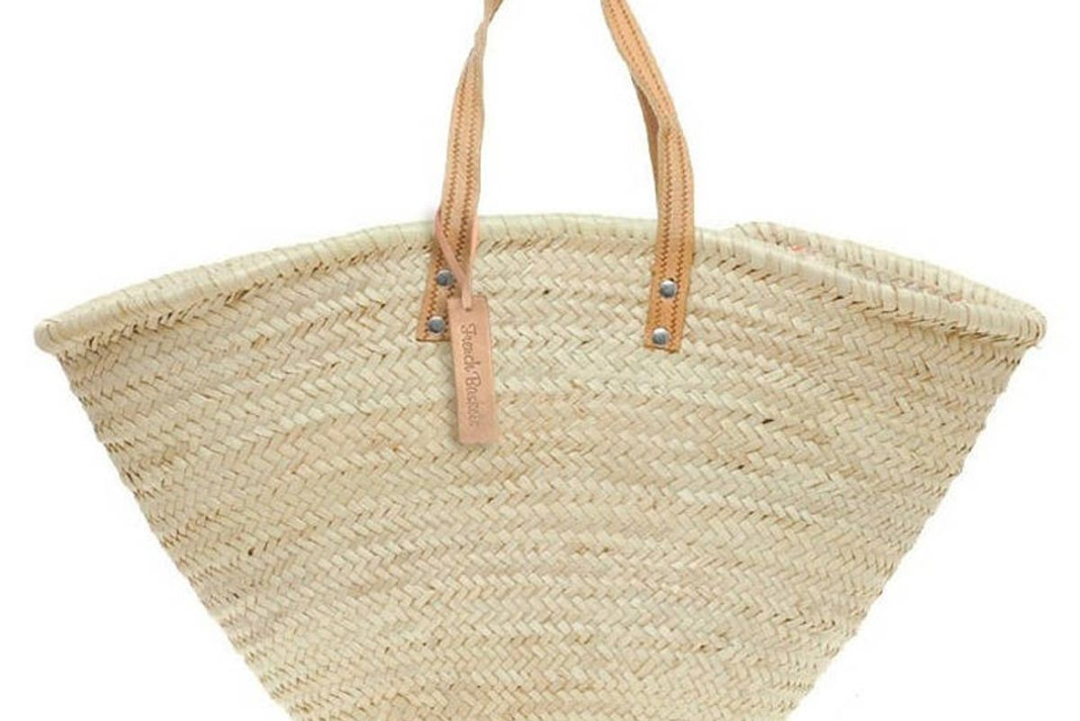 frenchbaskets straw bag handmade french market basket beach bag market basket wicker bag Natural straw basket short flat leather handle