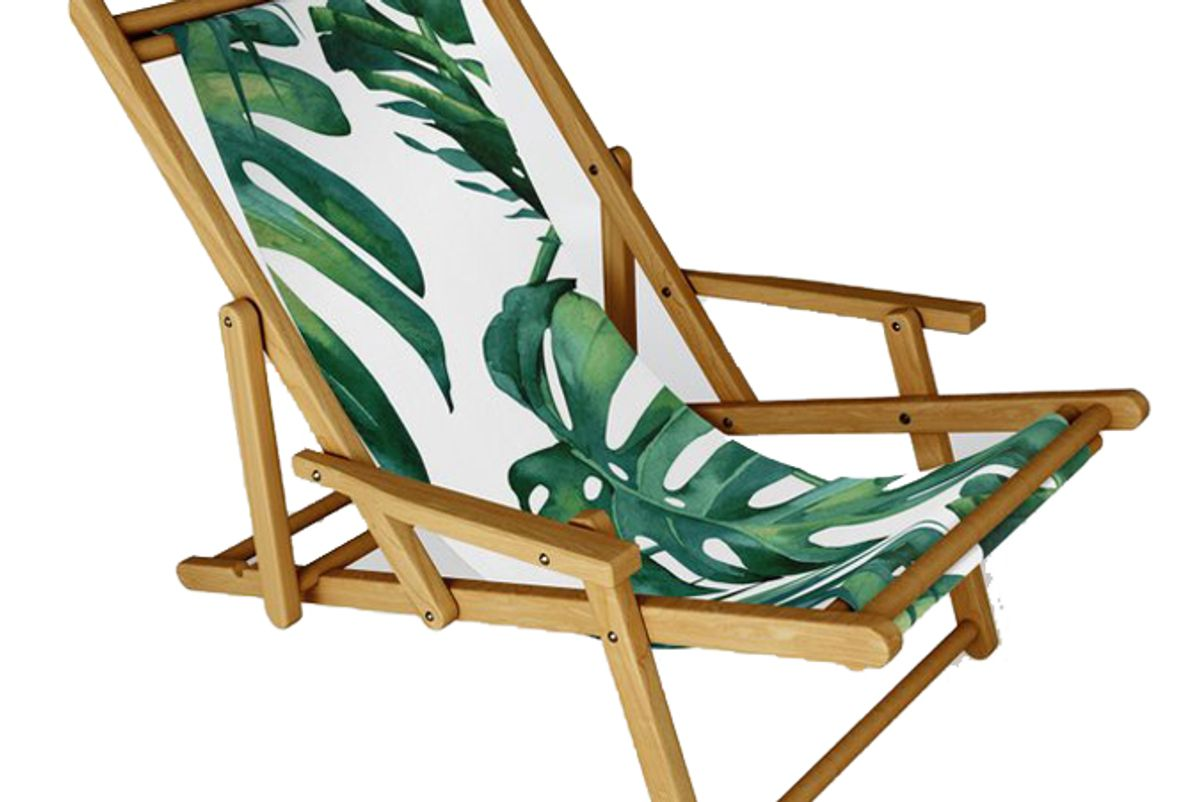 society 6 classic palm leaves tropical jungle green sling chair by simple luxe