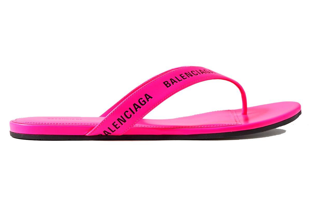 balenciaga logo print neon leather flip flops