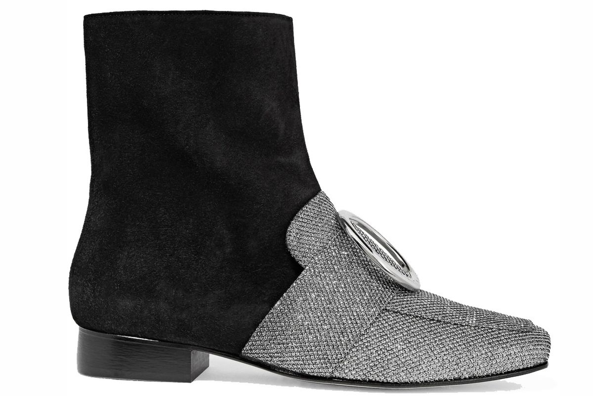 Biturbo Suede and Textured-Lamé Ankle Boots