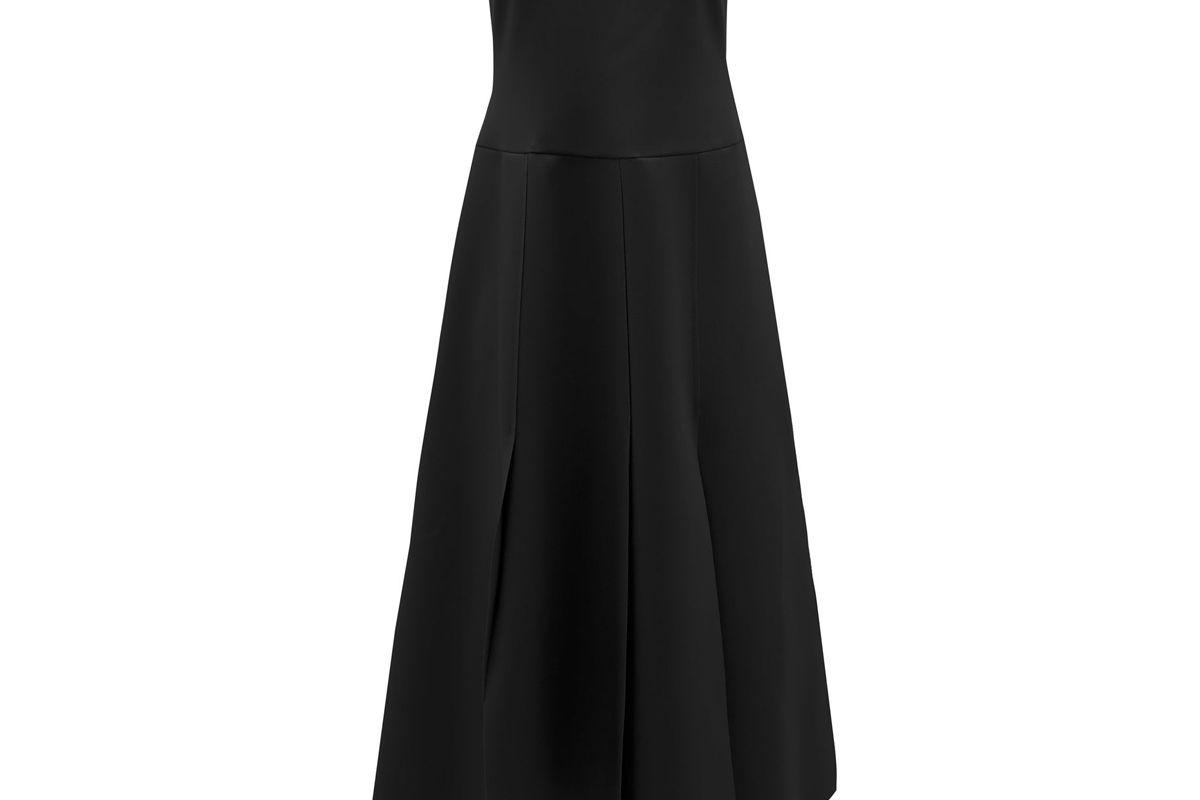 awake mode strapless asymmetric poplin dress