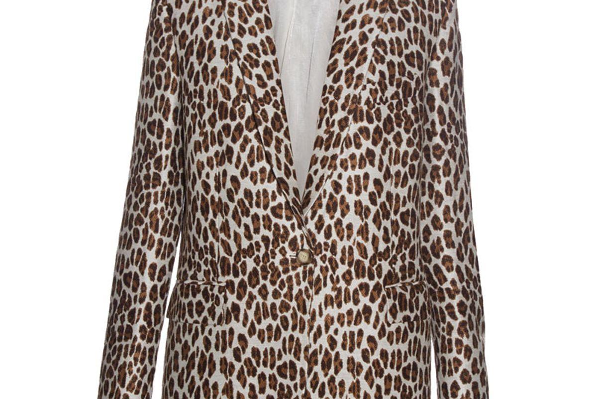 Peak-Lapel Leopard-Print Wool-Blend Blazer
