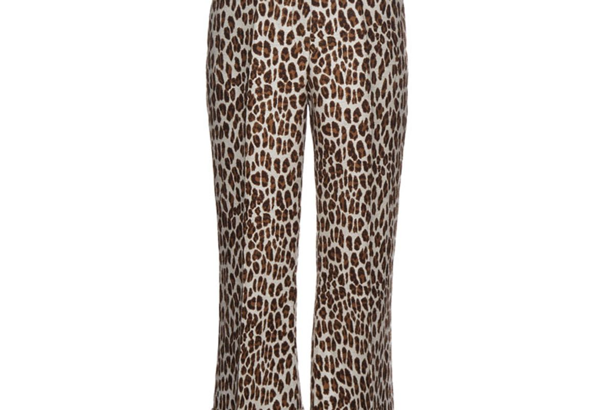 Leopard-Print Wool-Blend Cropped Trousers