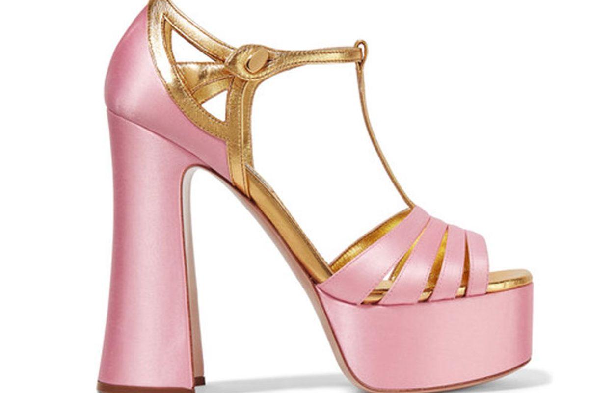Metallic Leather-Trimmed Satin Platform Sandals