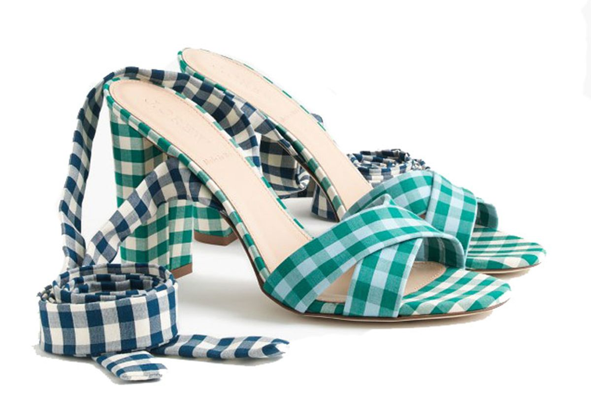 Mixed Gingham Ankle Wrap Sandals