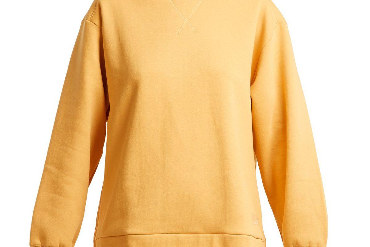 adidas by stella mccartney crewneck cotton-jersey sweater