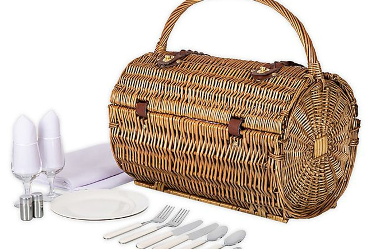picnic time barrel wicker picnic basket