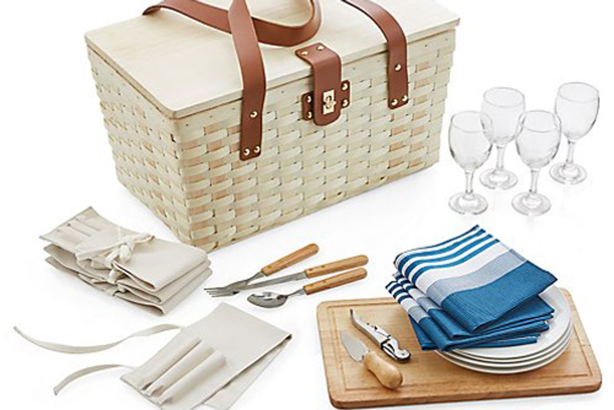 crate and barrel outfitted wooden picnic basket