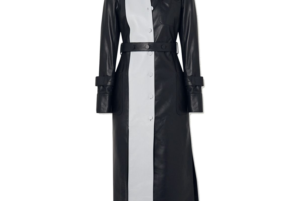 rokh belted two tone leather midi dress