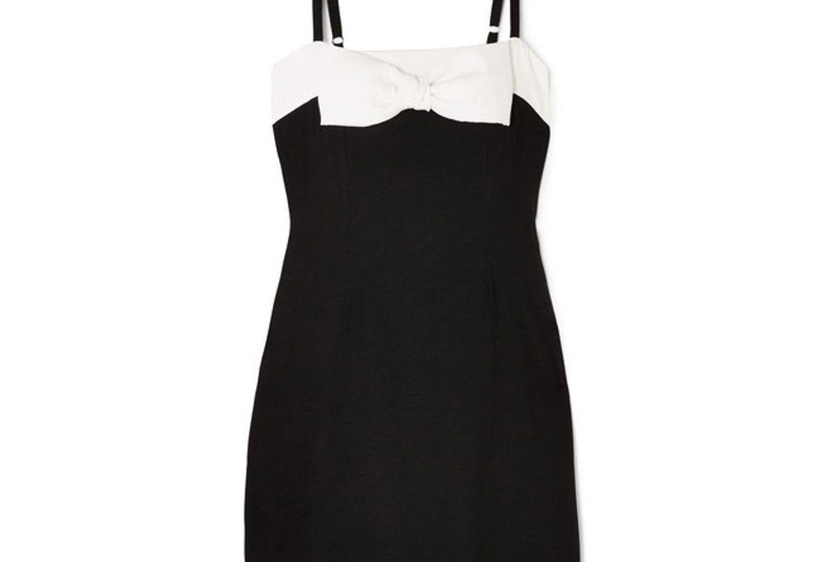 staud vertigo bow embellished cotton mini dress