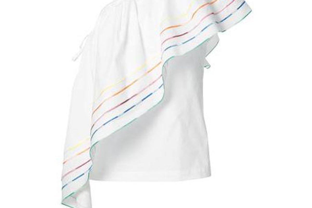One Shoulder Rainbow Blouse