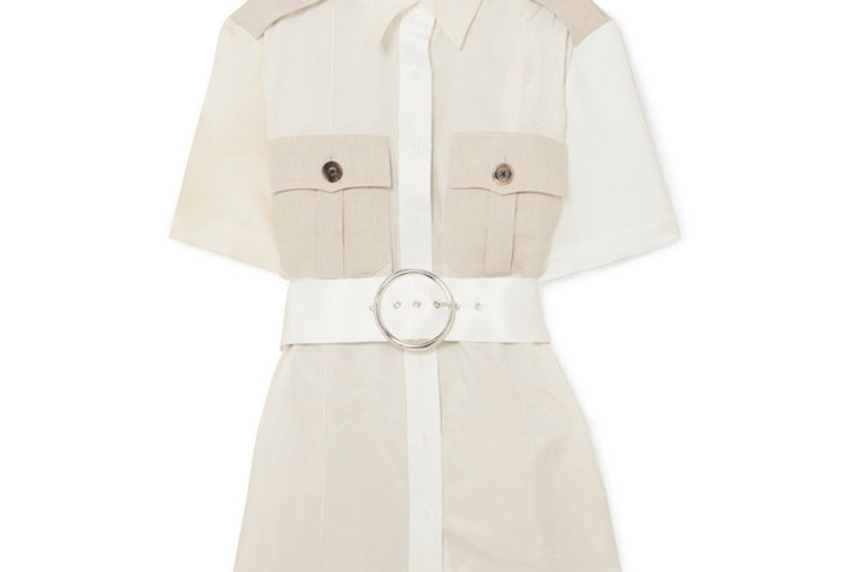 peter do college safari belted paneled cotton twill and seersucker shirt