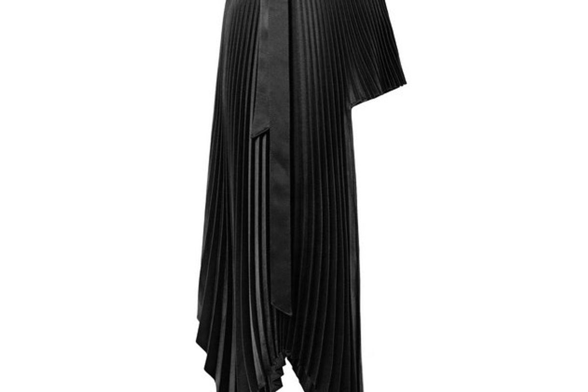 peter do asymmetric plisse satin crepe wrap mini skirt