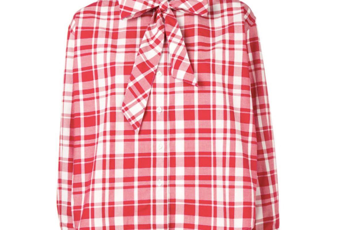 maison kitsune red plaid blouse