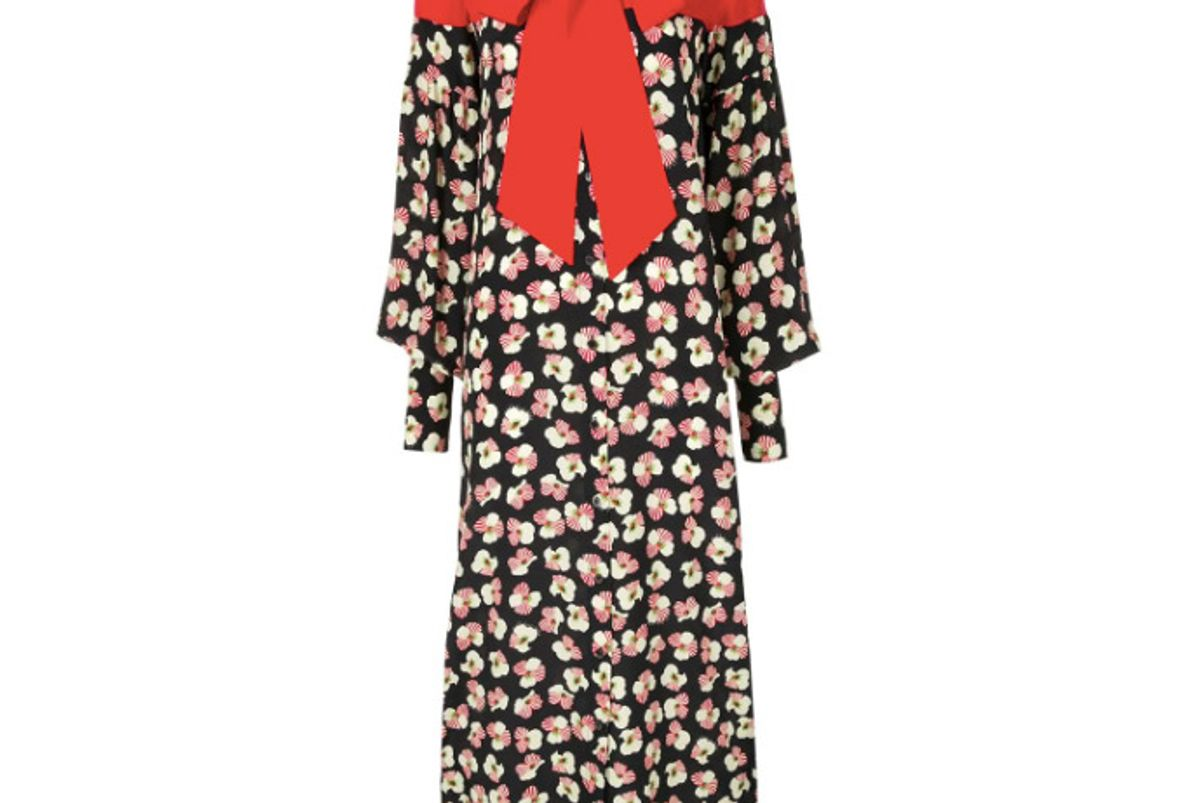 rokh floral contrast dress