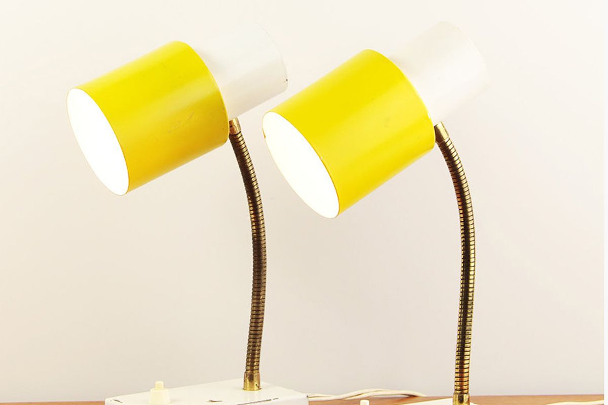 Industrial Vintage Yellow & White Table Lamps Made by Hala Zeist