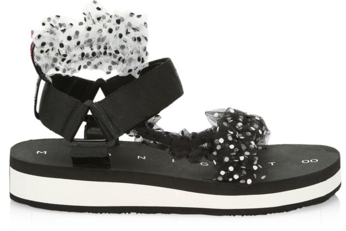 midnight 00 ruched polka dot sport sandals