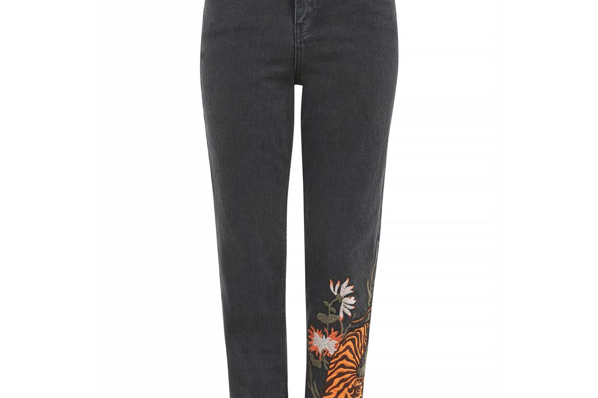 Tall Tiger Applique Mom Jeans