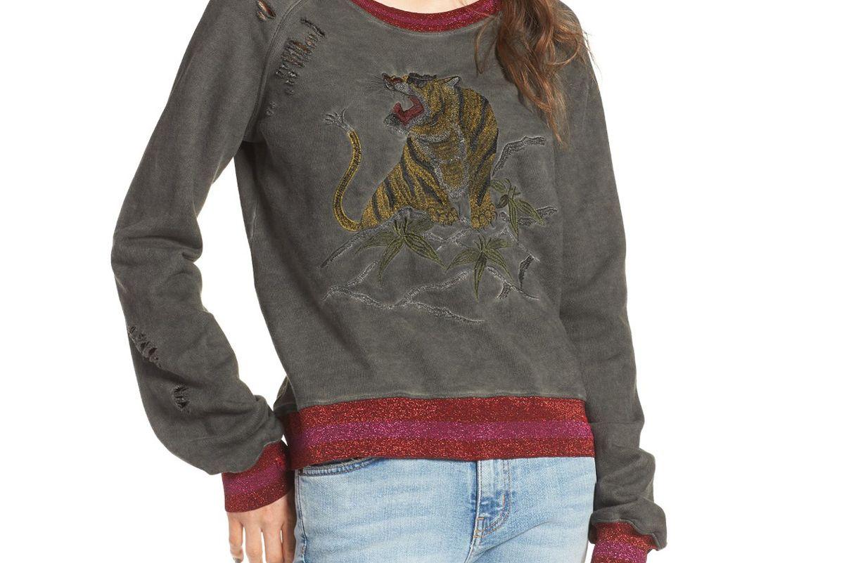 Embroidered Split Back Sweatshirt