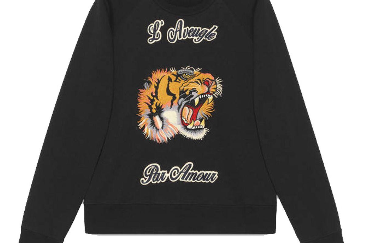 Cotton Sweatshirt with Tiger