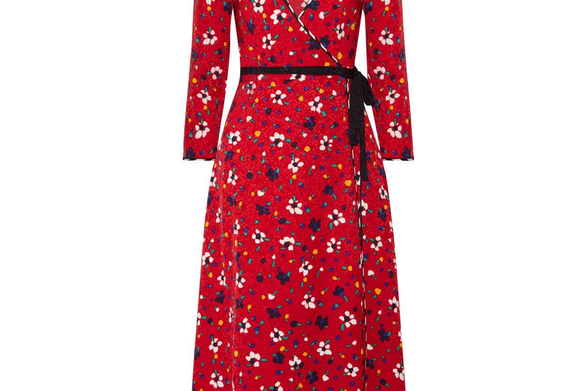 Floral-Print Silk-Jacquard Wrap Dress