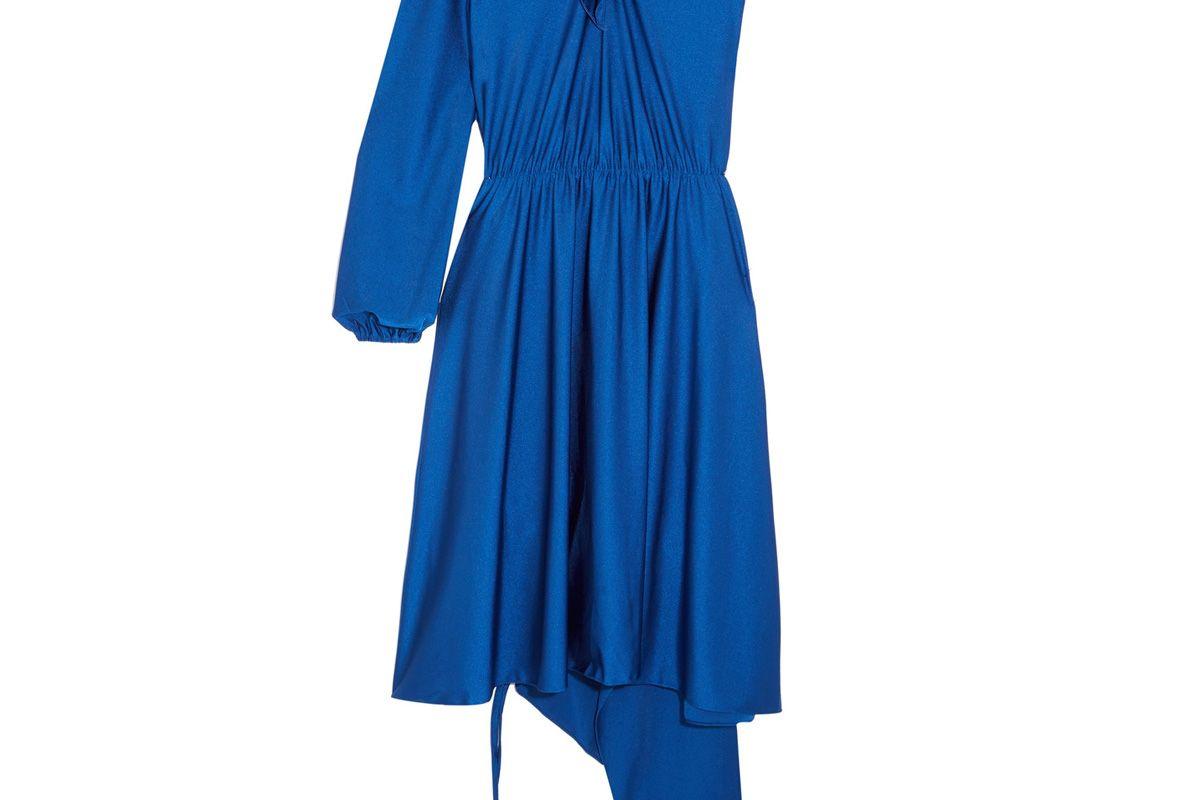Asymmetric Ruffled Stretch-Satin Dress