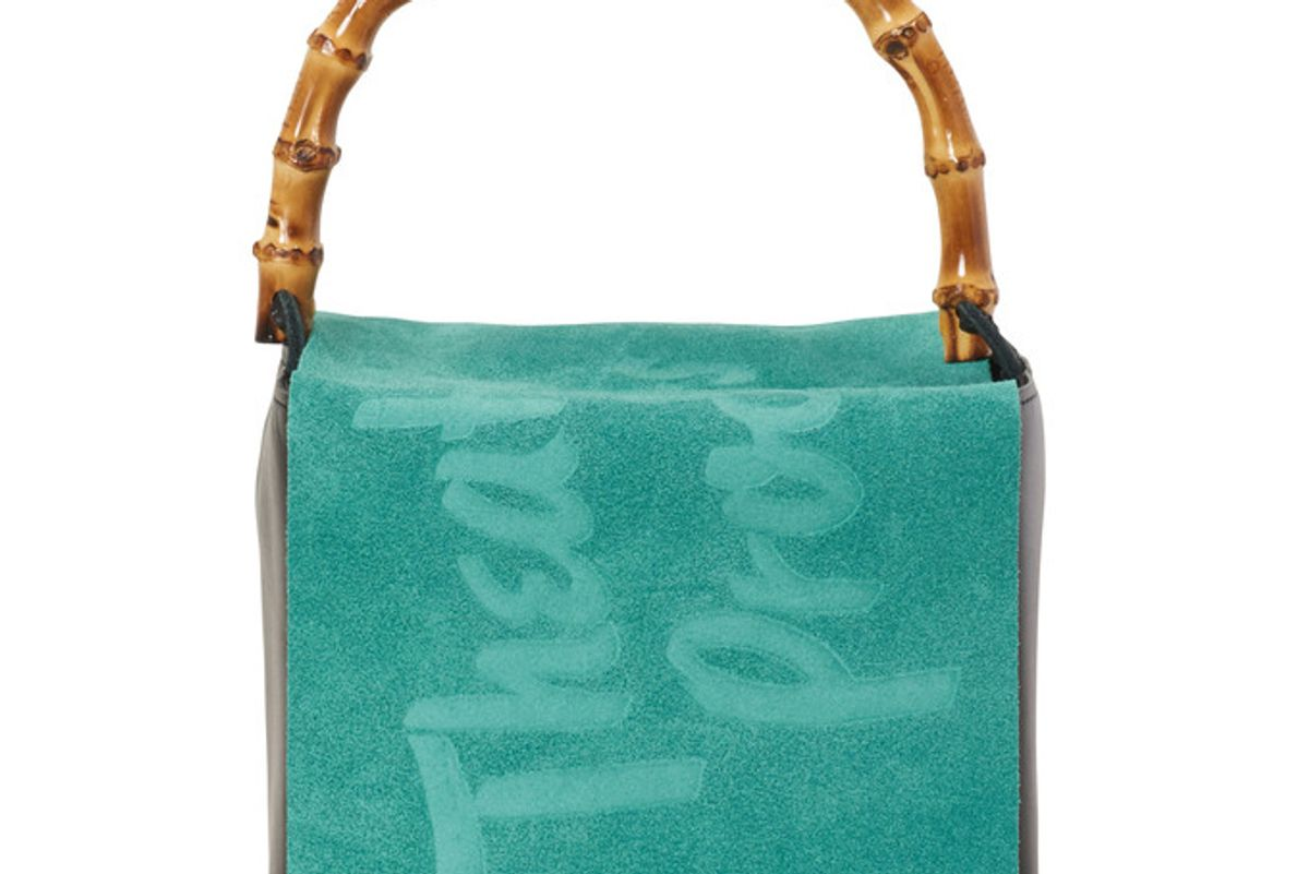theatre products suede leather bag