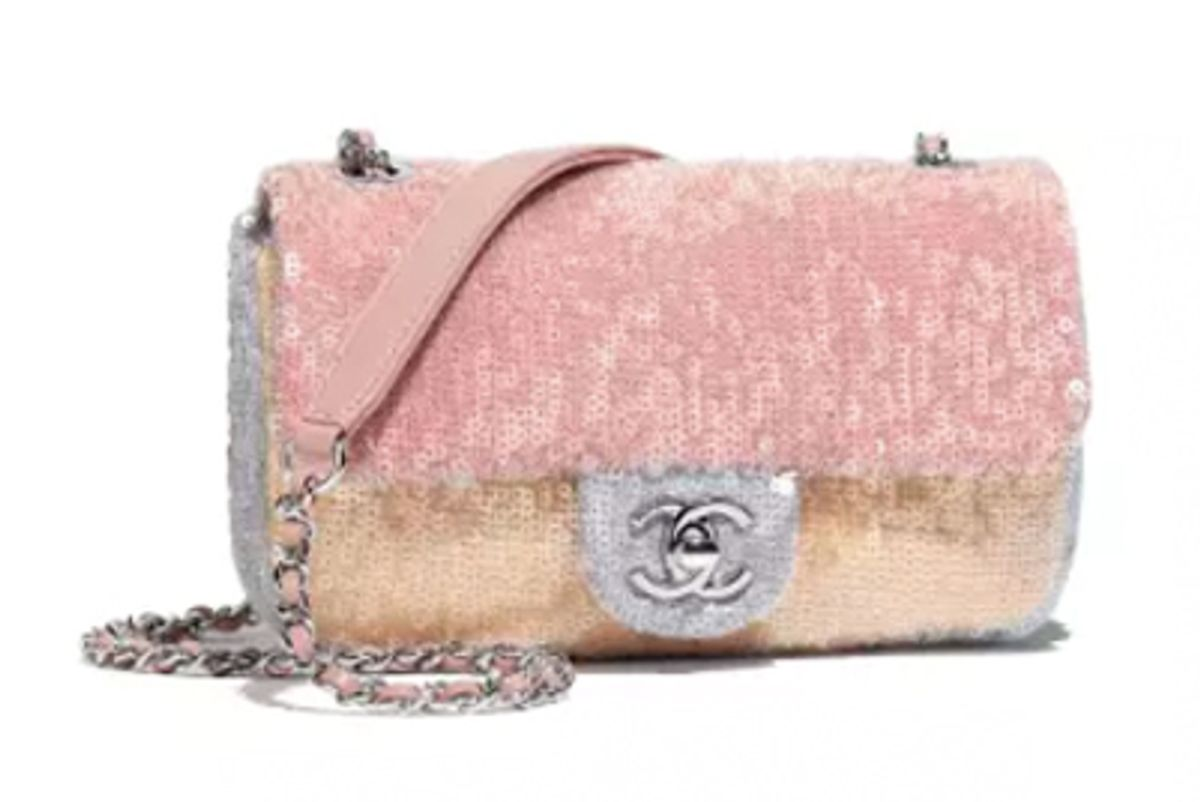 chanel sequins and silver-tone metal flap bag
