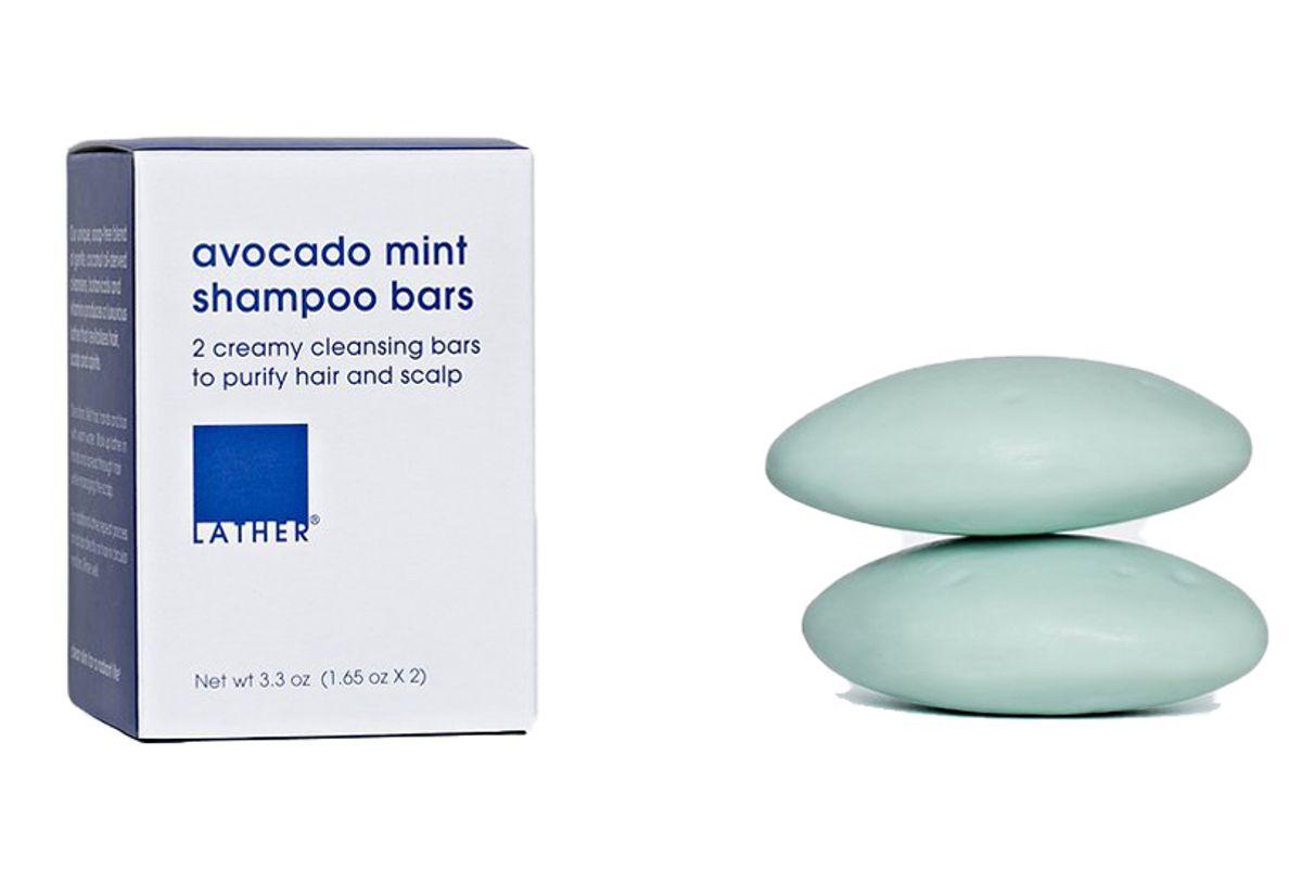 lather avocado mint shampoo bar