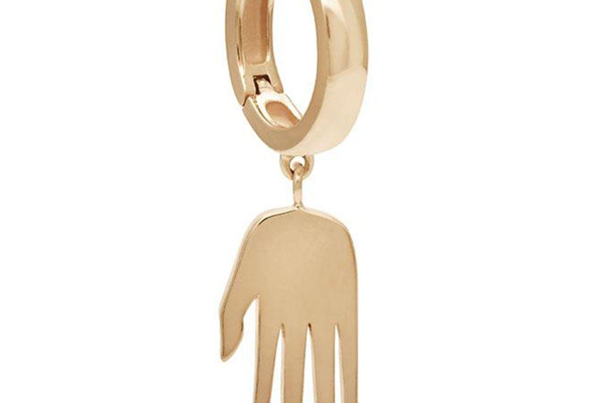 anna sheffield petit hand talisman hoop earring yellow gold