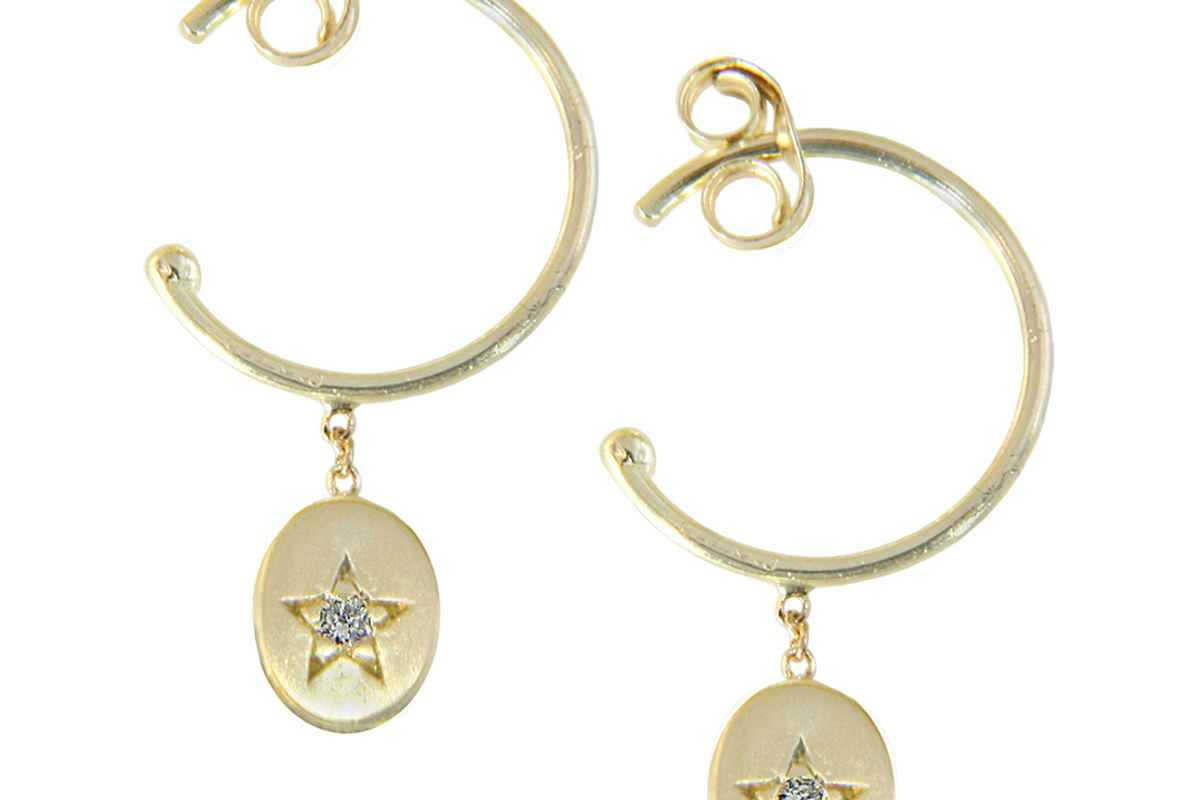 sweet pea diamond and 18ct yellow gold starry starry night small hoop earrings