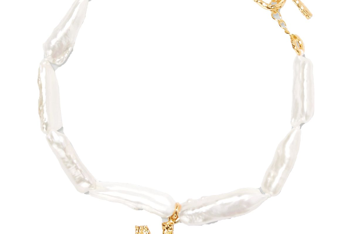 pacharee alphabet gold plated pearl bracelet