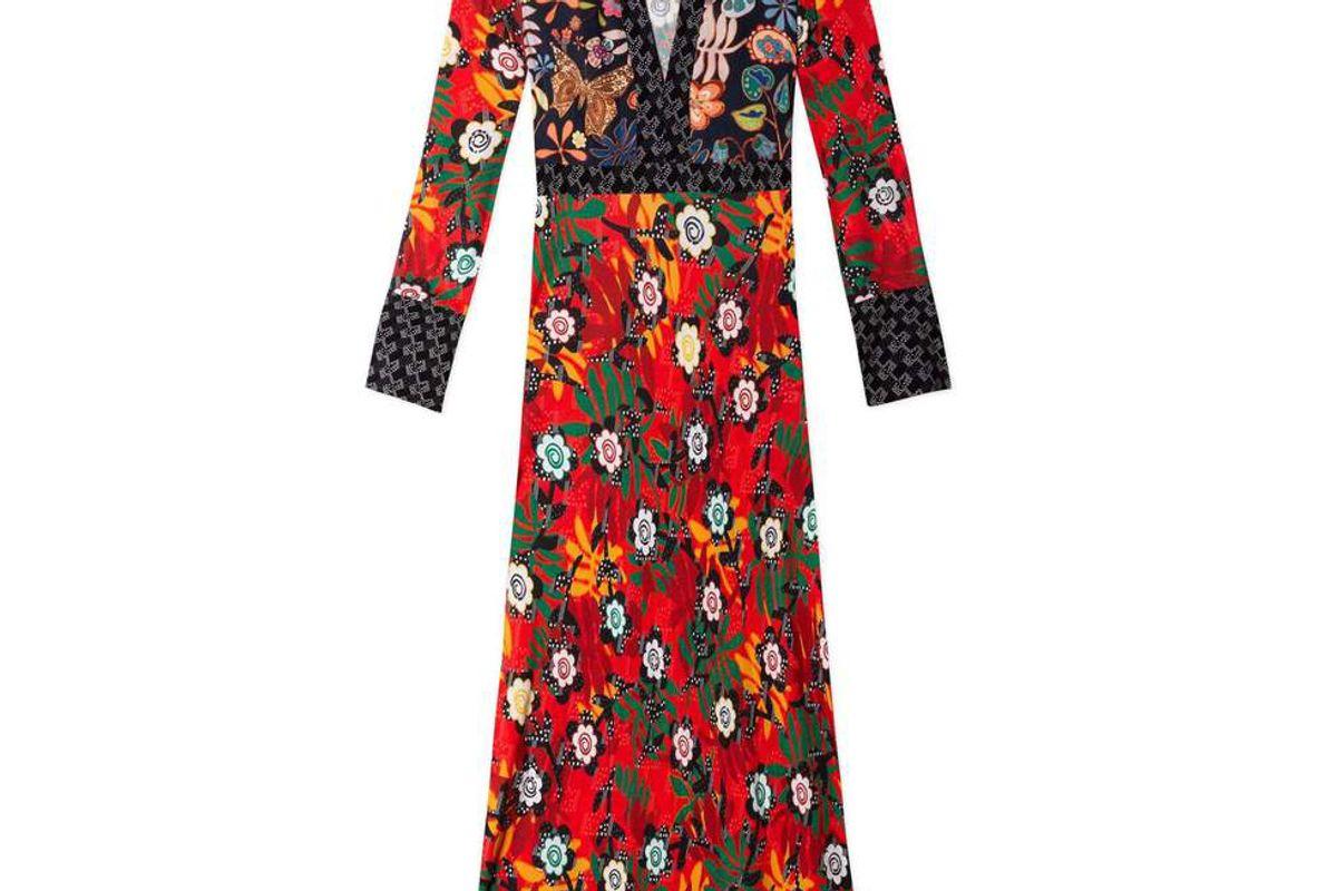 rixo thelma long sleeve midi dress with collar