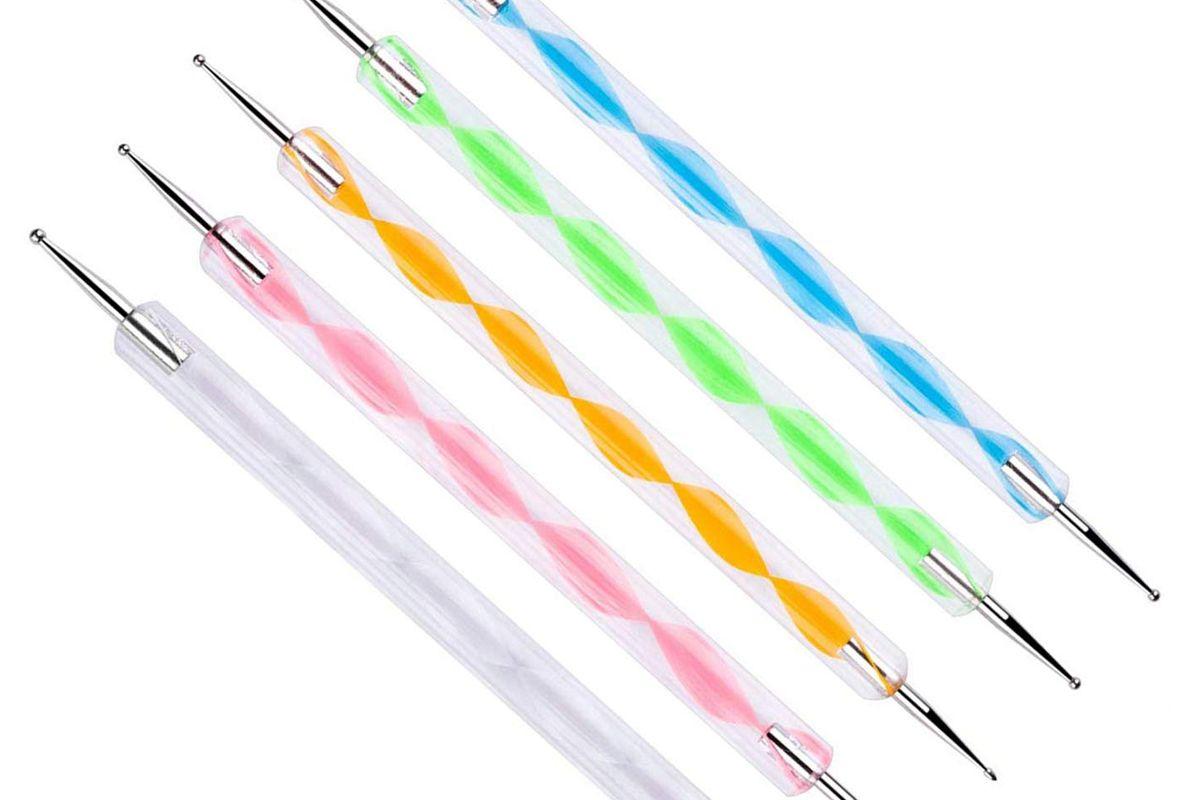 himo 5 pc 2 way dotting pen tool nail art tip dot paint manicure kit
